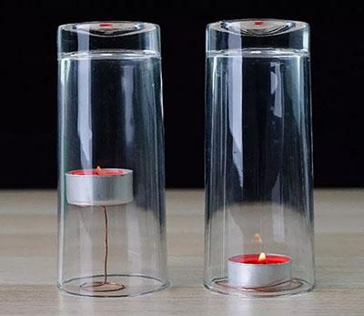 原来并不简单——玻璃罩中高矮不同的两只蜡烛谁先灭?